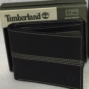 Timberland Bifold Mens Black Leather Wallet